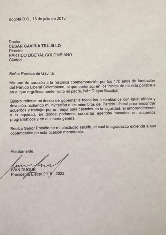 Gobierno Iván Duque: Le reitero invitación a trabajar juntos por Colombia: Duque a Gaviria
