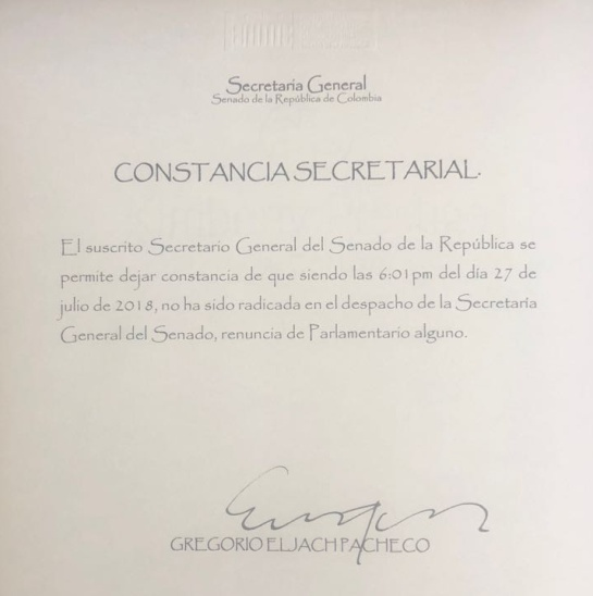 Renuncia de Iván Marquez al Senado Farc: Farc no radicó carta de renuncia de Iván Márquez al Senado