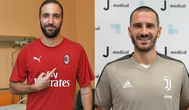 Gonzalo Higuaín y Leonardo Bonucci: Higuaín ficha con el Milan y Bonucci regresa a la Juventus