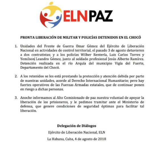 Eln Secuestro de Policias: Eln pide condiciones para liberar a policías secuestrados