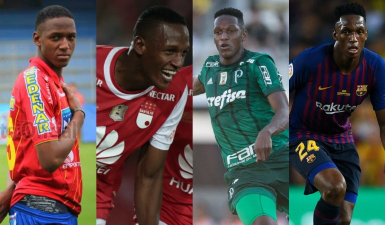 Yerry Mina, Números en Pasto, Santa Fe, Palmeiras y Barcelona: Los números de Yerry Mina en Pasto, Santa Fe, Palmeiras y Barcelona