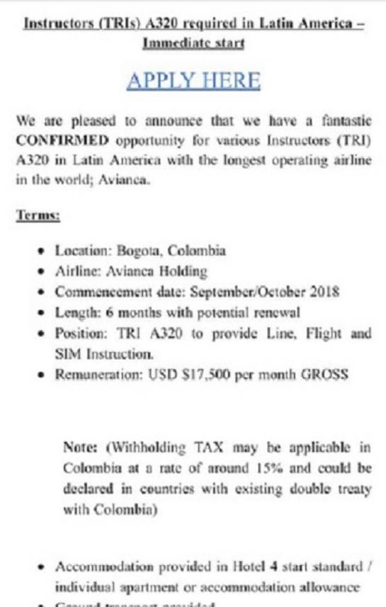 Convocatoria para pilotos en Avianca.: Avianca abre convocatoria a pilotos extranjeros con salarios $50 millones