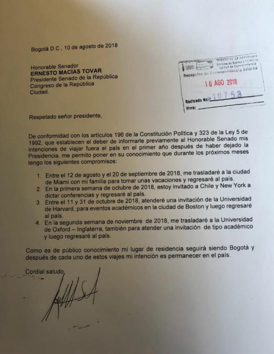 Premio Nobel de Paz Colombia: Santos informó al Congreso su agenda de viajes hasta diciembre