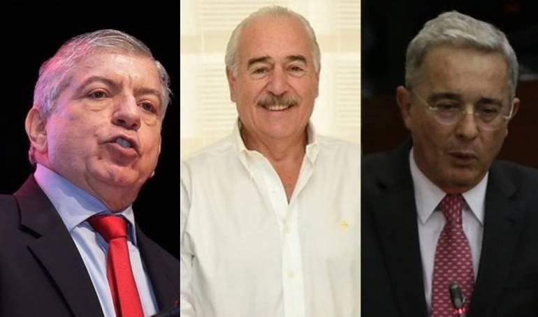 César Gaviria, Andrés Pastrana y Álvaro Uribe, expresidentes de Colombia.