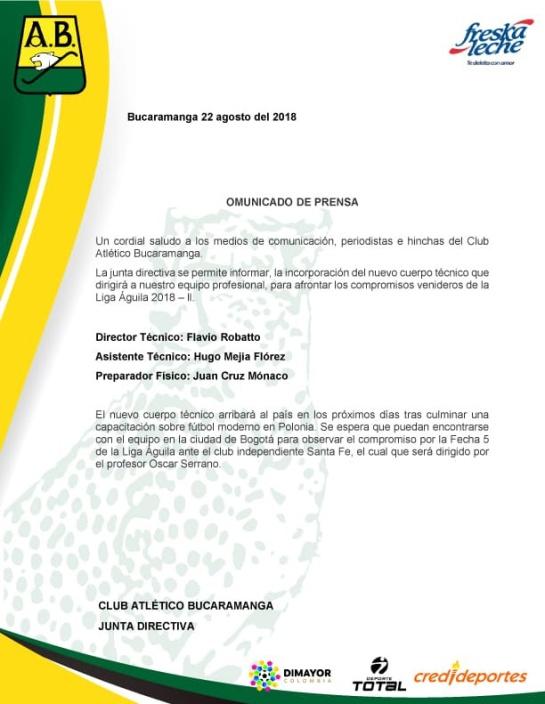 Flavio Robatto nuevo técnico Bucaramanga: Flavio Robatto será el nuevo técnico del Atlético Bucaramanga