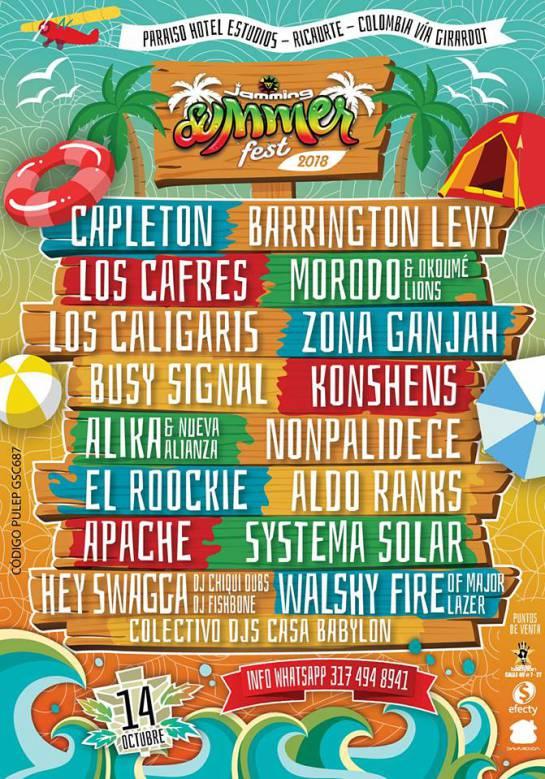Jamming Summer Fest artistas: ¡Para no perderse! Jamming Summer Fest 2018
