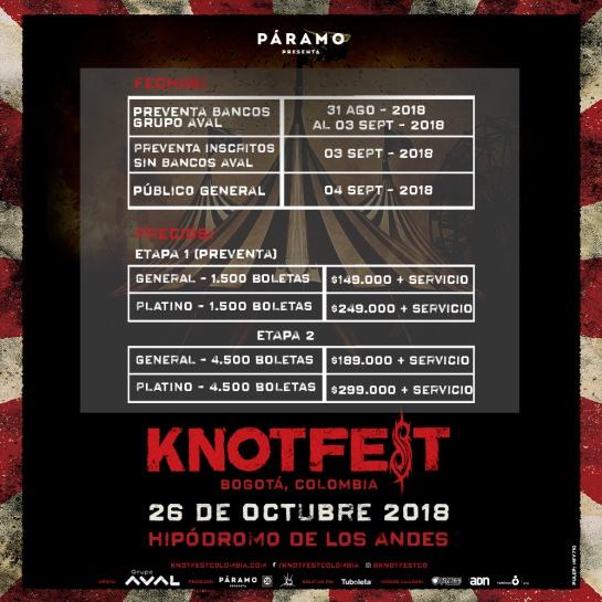 Etapas de venta de boletería festival metalero en Bogotá