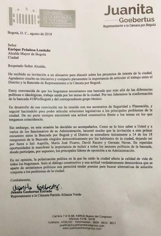 Almuerzo con Peñalosa.: Cuatro congresistas habrían sido excluidos de almuerzo con Peñalosa