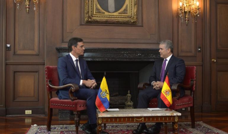 """VIsita de presidente español a Colombia: Sánchez: """"Después escuchar al presidente no cabe duda que quiere la paz"""""""
