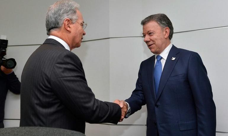 Ex presidentes de Colombia, Álvaro Uribe Vélez y Juan Manuel Santos