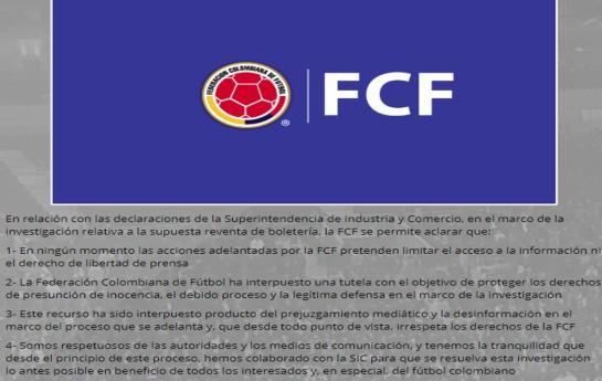 reventa de boletas colombia: Federación Colombiana busca prohibir información sobre reventa de boletas