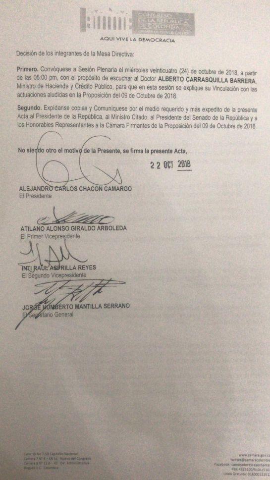 Alberto Carrasquilla: Cámara de Representantes aprobó votar la moción de censura a MinHacienda