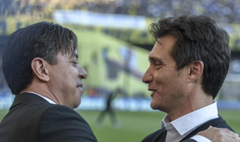 boca juniors river plate datos: Barros Schelotto y Gallardo, rivales desde la cancha al banquillo