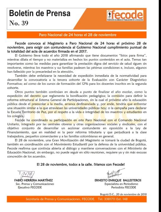 Fecode paro 28 de noviembre: Fecode ratifica paro nacional de 24 horas el 28 de noviembre
