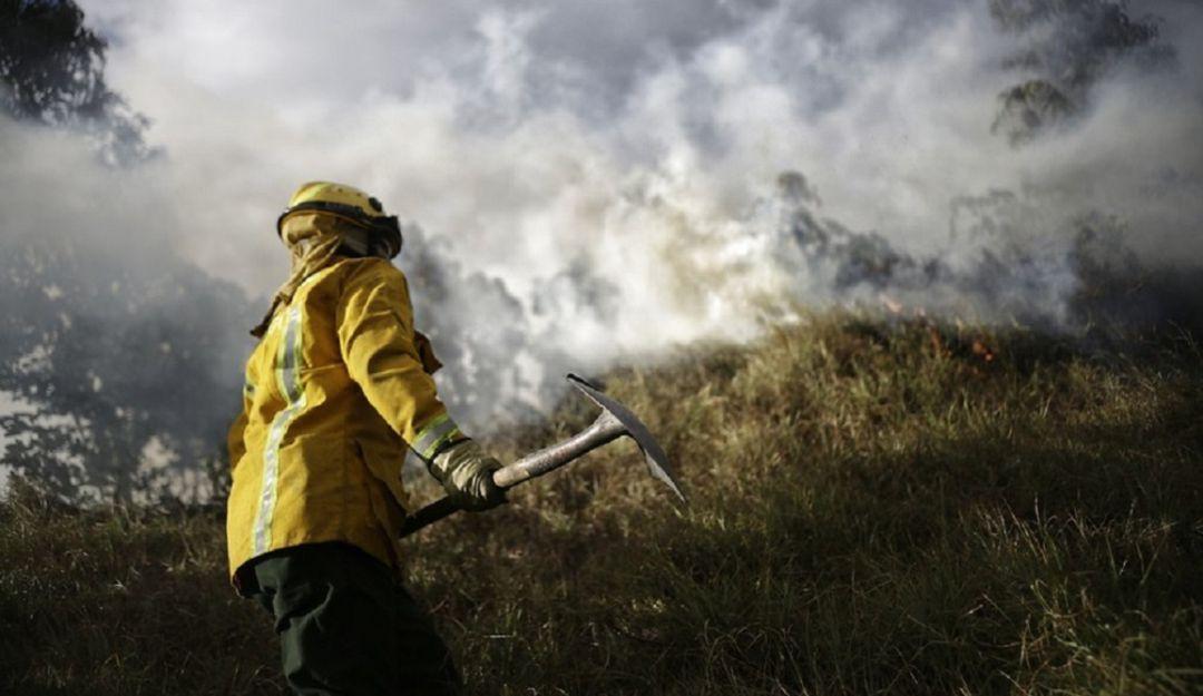 Incendio en la zona de El Tintal, en Bogotá.