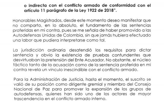 El ex senador Visbal Martelo pide 'pista' en la JEP