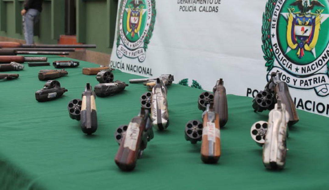 Armas de fuego incautadas en Caldas