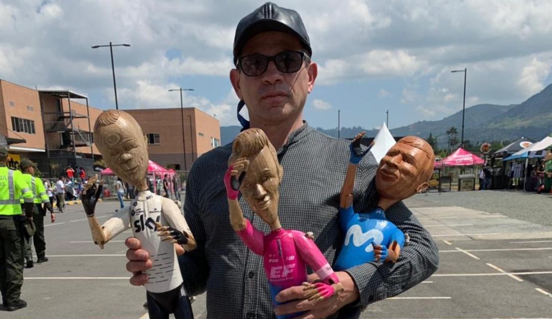 tour colombia: El bogotano que retrata en madera a Froome, Nairo y 'Rigo'
