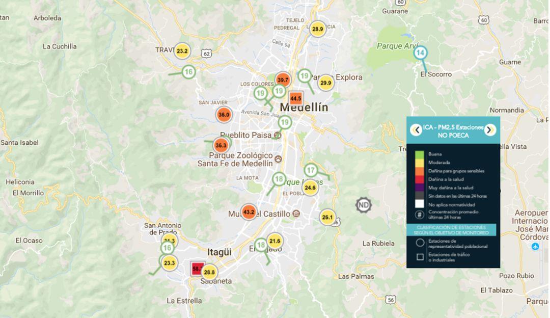 ÁREA METROPOLITANA, VALLE DE ABURRÁ, CALIDAD DEL AIRE, MEDELLÍN, ANTIOQUIA: Valle de Aburrá vive hoy deterioro en la calidad del aire