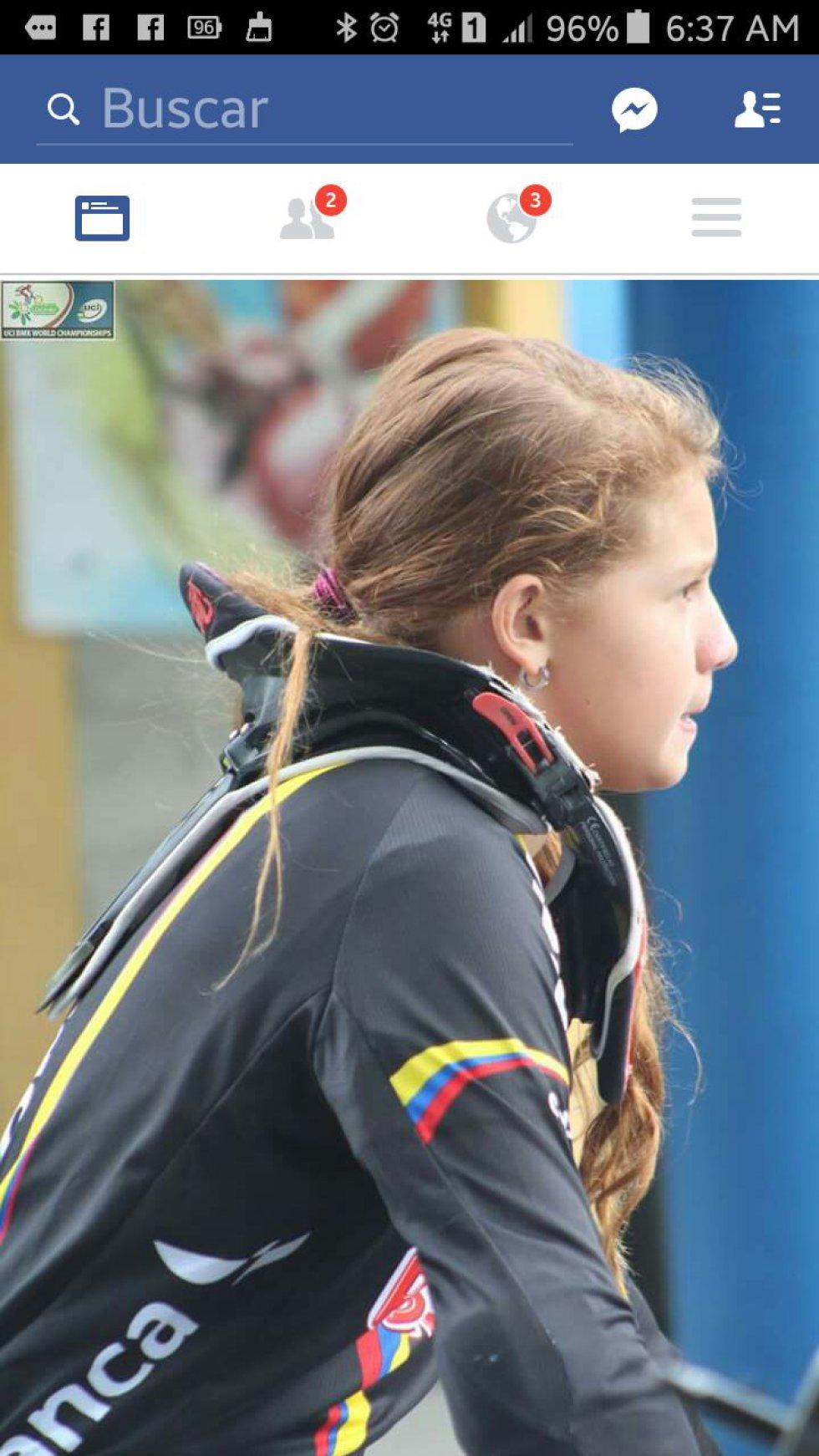 La bicicrosista quindiana concentrada en las pruebas en la pista de BMX en Medellín