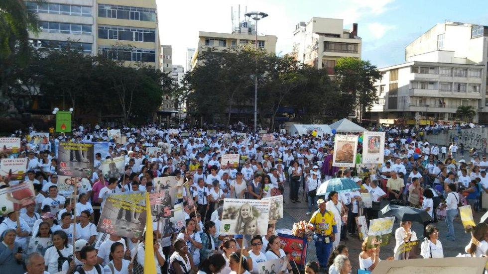 La plaza de Bolívar de Armenia fue el punto de encuentro de la marcha