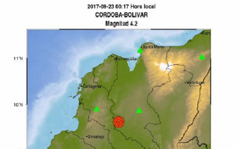 Sismo de 4,2 grados se registró en Córdoba, Bolívar