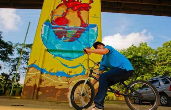 """BUCARAMANGA ARTE PARQUE INTERVENCIÓN: El parque de deportes extremos y el viaducto se """"vistieron"""" de colores"""