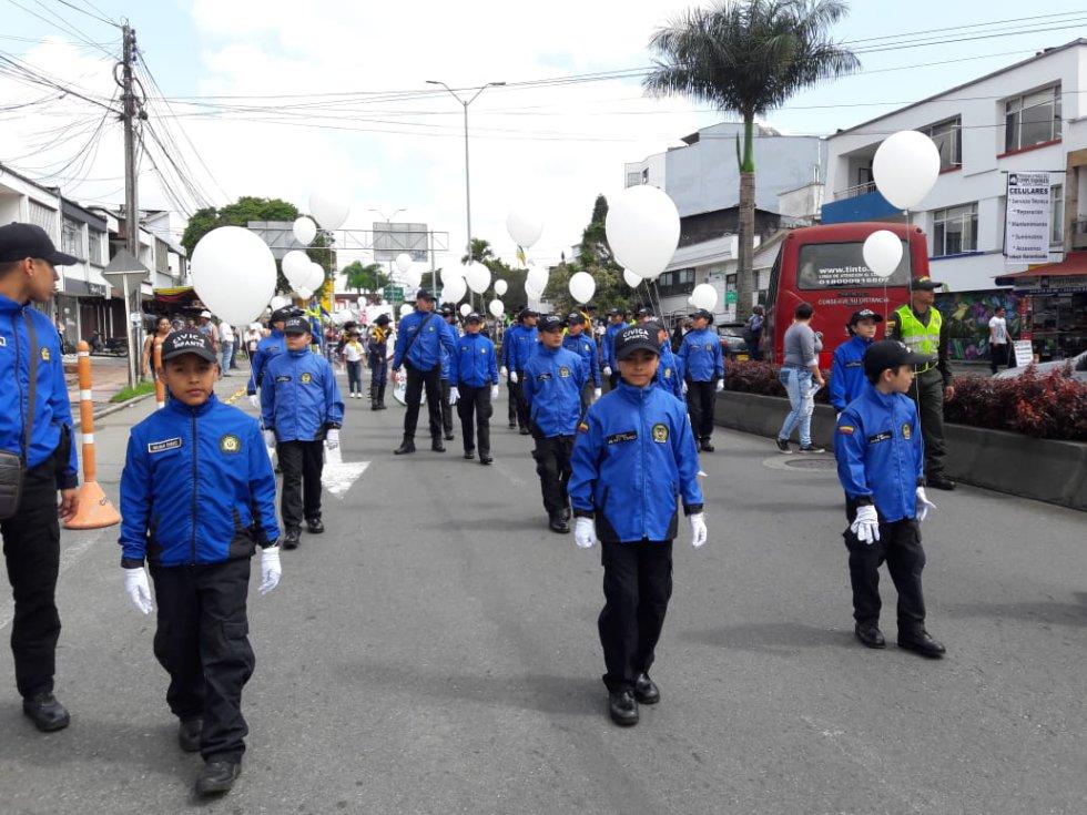 La policía cívica juvenil del Quindío también se movilizó