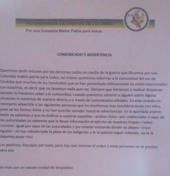 Amenazas a lideres sociales: Un segundo panfleto en Córdoba amenaza a líderes sociales