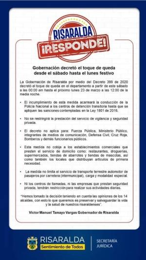 Toque de queda en Risaralda: Toque de queda en todos los municipios de Risaralda