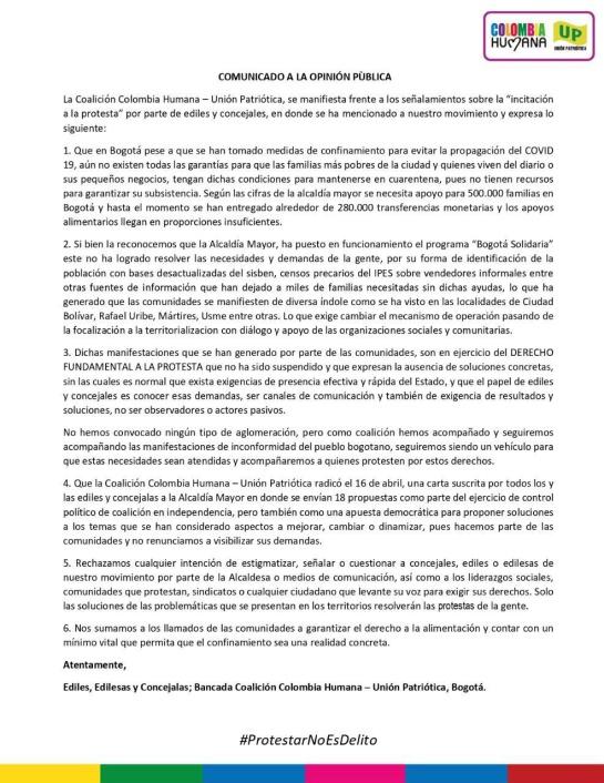 Protestas en Bogotá por ayudas Covid-19: Ediles de Colombia Humana estarían detrás de las protestas en Bogotá