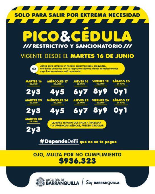 Pico y Cédula Barranquilla: Este es el 'Pico y Cédula' en Barranquilla hasta el 30 de junio