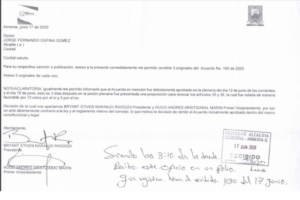 Carta radicada por el secretario del concejod e Armenia