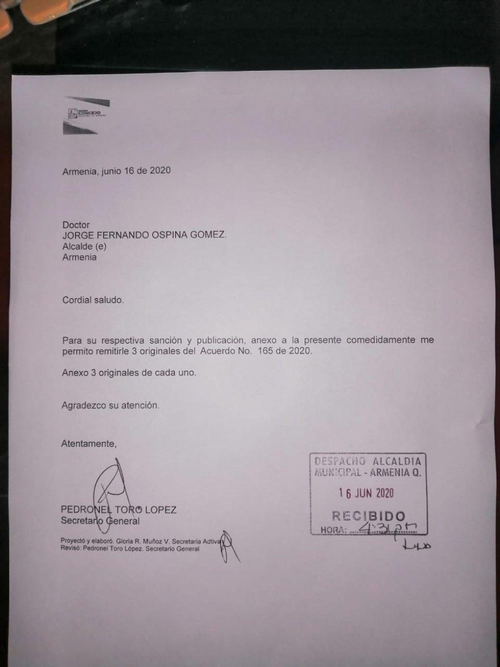 Carta radicada por el presidente y el vicepresidente del concejo de Armenia