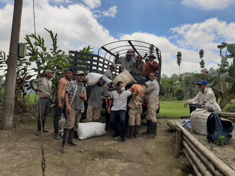 Los recolectores cargando los bultos de café en finca de Circasia, Quindío