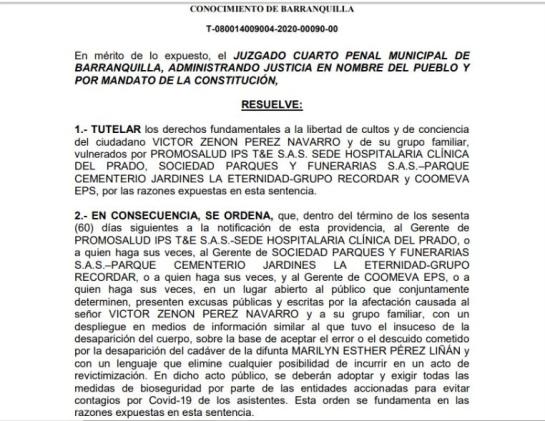 Cuerpos extraviados en Barranquilla: Juez ordena exhumar cuerpo en caso de cadáveres extraviados en Barranquilla