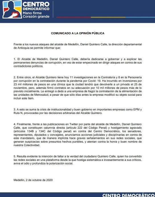 Centro Democrático anuncia acciones judiciales contra Daniel Quintero: Centro Democrático anuncia acciones judiciales contra Daniel Quintero