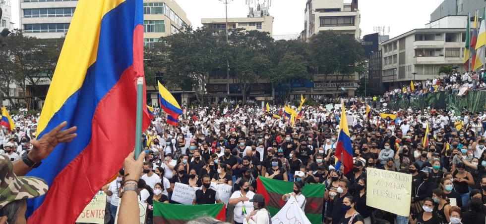Multitudinaria participación del día de los trabajadores en plaza de Bolívar de Armenia