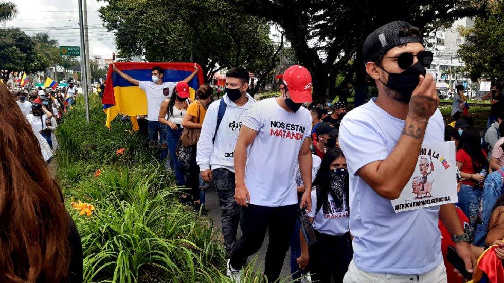 La movilización ocupó los dos carriles en la avenida Bolívar al norte de Armenia