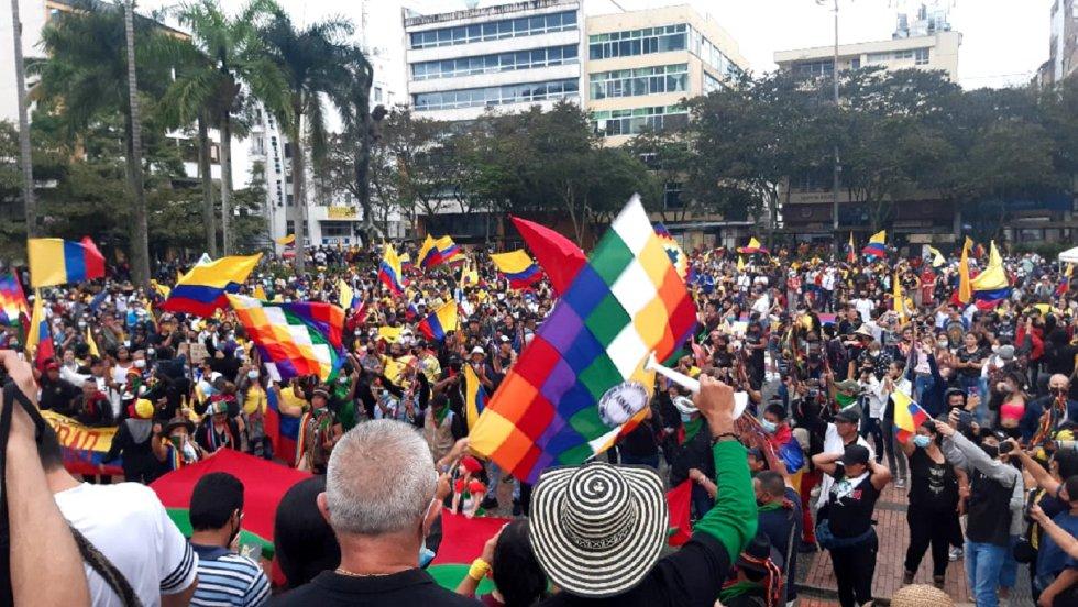 La plaza de  Bolívar de Armenia practicamente llena con la manifestación