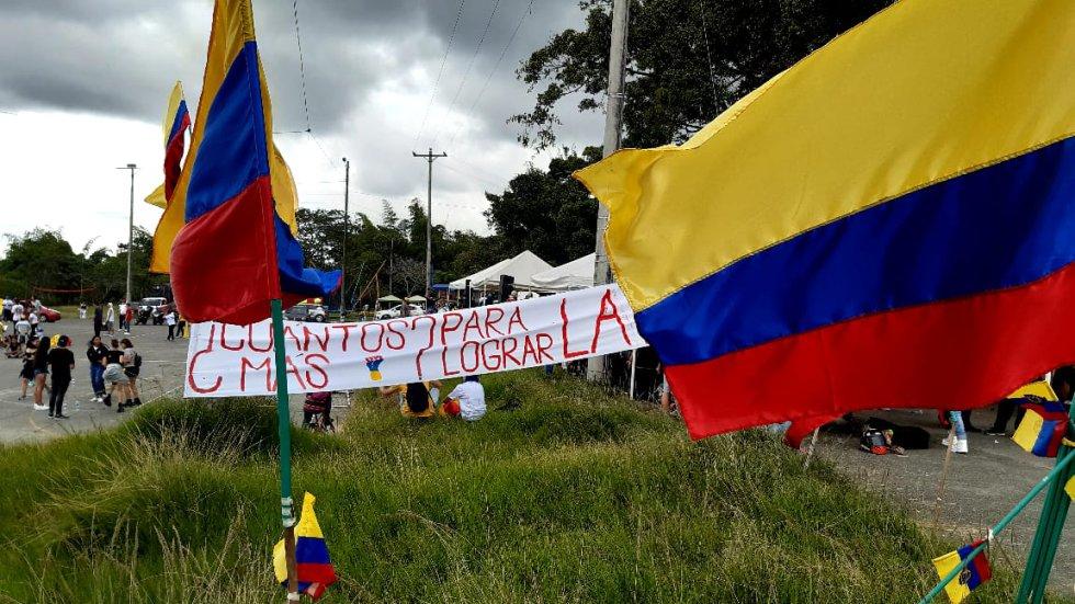 Las banderas de Colombia fueron otra vez parte esencial de las manifestaciones