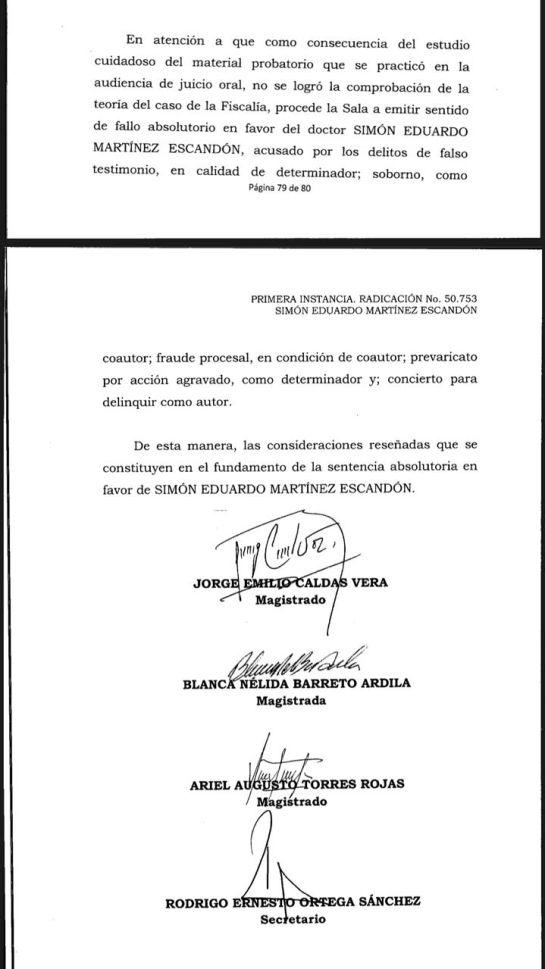 Sentido del Fallo Simón Martínez.