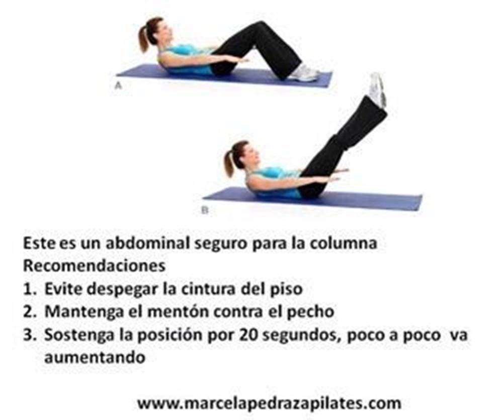 Al realizar ejercicios para la parte abdominal, lo recomendable es cuidar de la espalda para evitar posibles dolores.