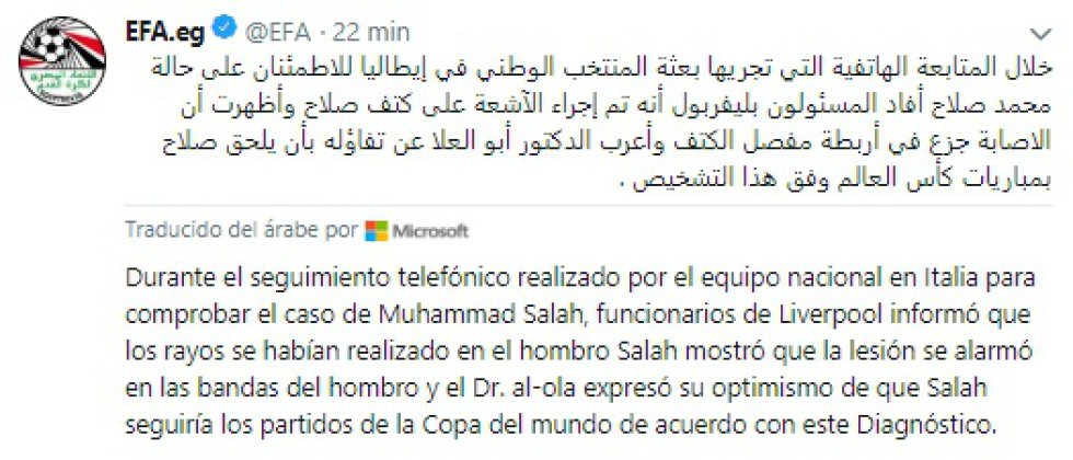 Este es el comunicado de la Federación Egipcia sobre la salud de Salah