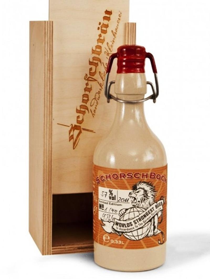 Schorschbräu's Schorschbock 57: es considerada la más fuerte del mundo, solo se produjo 36 botellas. Precio: alrededor de los $550.000 por una botella de 330 ml.