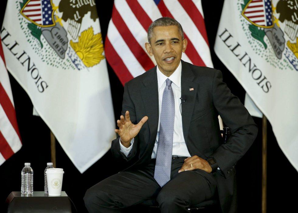 Barack Obama de visita en la Escuela de Leyes en la Universidad de CHicago