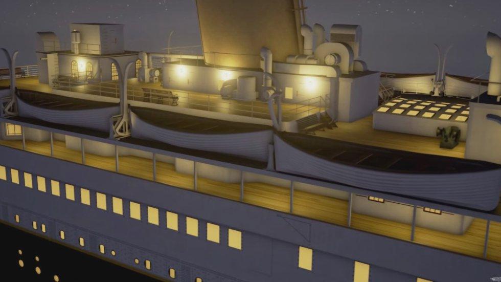 Muestra como se van bajando los botes y apagando una a una las luces de las diferentes secciones del barco