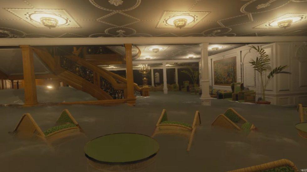 En le video también se recrea el proceso interno del hundimiento del barco