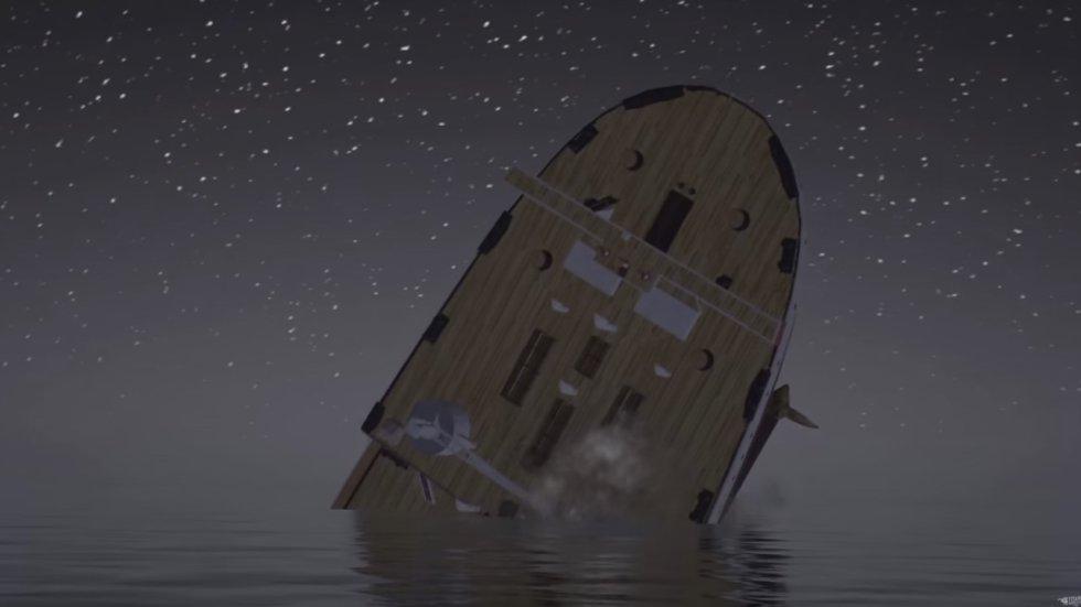 El video busca reproducir lo más real posible los efectos y proceso del hundimiento del barco.