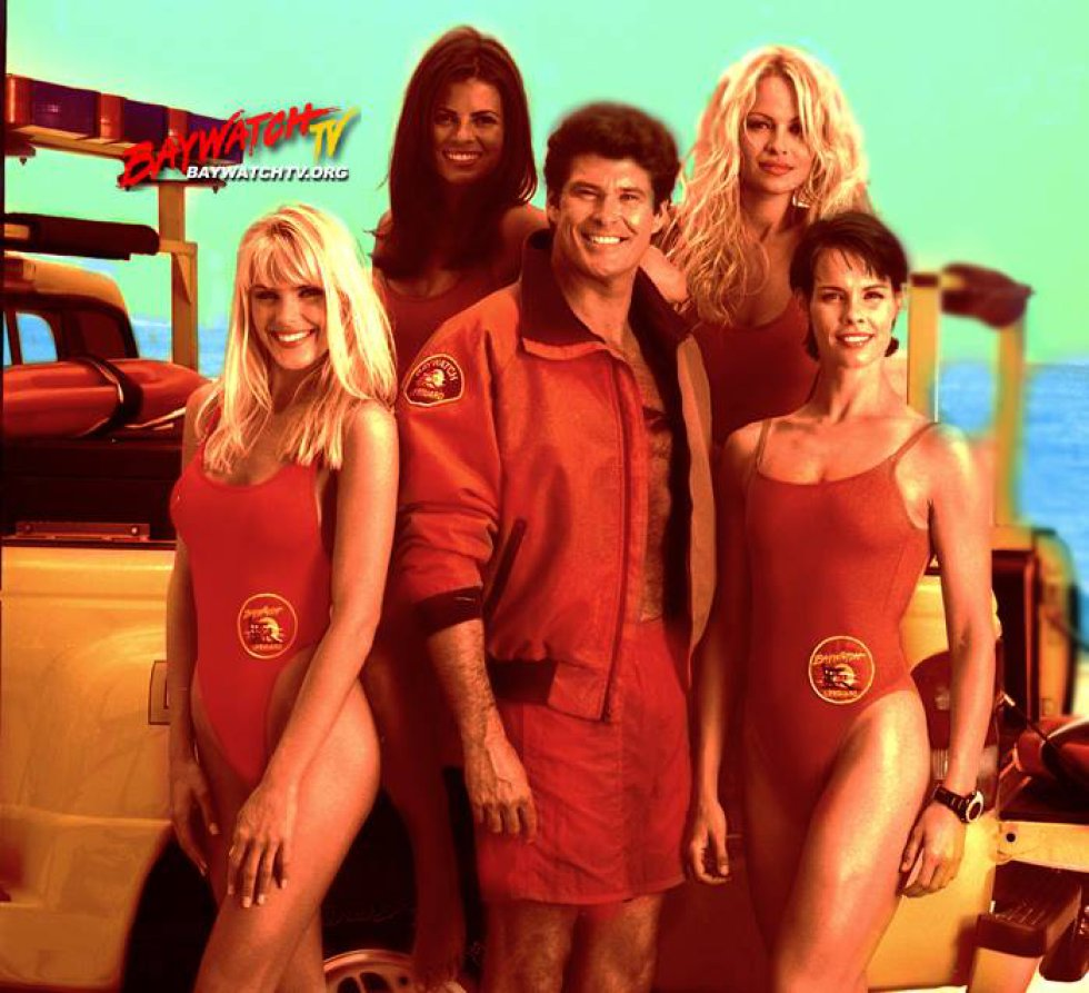 Gena Lee Nolin, Traci Bingham, David Hasselhoff, Pamela Anderson y Alexandra Paul.